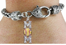 "<bR> WHOLESALE SOFTBALL HEART BRACELET <BR>                EXCLUSIVELY OURS!! <BR>           AN ALLAN ROBIN DESIGN!! <BR>     LEAD, CADMIUM, & NICKEL FREE!! <BR>1471SB - SILVER TONE SOFTBALL ""MOM""<BR>CLEAR AND YELLOW CRYSTAL CHARM ON <BR>    HEART LOBSTER CLASP BRACELET <Br>      FROM $5.63 TO $12.50 �2013"