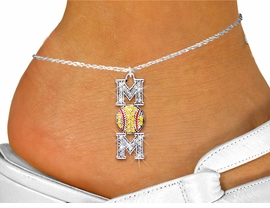 """<bR>        WHOLESALE SOFTBALL JEWELRY! <BR>                  EXCLUSIVELY OURS!! <BR>             AN ALLAN ROBIN DESIGN!! <BR>       LEAD, NICKEL & CADMIUM FREE!! <BR> W1471SAK - SILVER TONE SOFTBALL """"MOM"""" <BR>YELLOW & CLEAR CRYSTAL CHARM AND ANKLET <Br>           FROM $5.40 TO $9.85 �2013"""