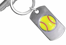 "<bR>     WHOLESALE SOFTBALL KEY RINGS <BR>            AN ALLAN ROBIN DESIGN <bR>               EXCLUSIVELY OURS!! <BR>             LEAD & NICKEL FREE!! <BR>  W20617KC - DOUBLE-SIDED SOFTBALL <Br> ""NEVER GIVE UP"" DOG TAG KEY CHAIN <BR>   FROM $5.29 TO $11.75 ©2013"