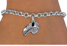 "<br>         WHOLESALE SPORTS BRACELET <bR>                   EXCLUSIVELY OURS!!<BR>              AN ALLAN ROBIN DESIGN!!<BR>     CLICK HERE TO SEE 1000+ EXCITING<BR>           CHANGES THAT YOU CAN MAKE!<BR>        CADMIUM, LEAD & NICKEL FREE!!<BR>        W1432SB - LARGE, SILVER TONE <Br> ""#1 COACH"" WHISTLE CHARM & BRACELET <BR>            FROM $4.15 TO $8.00 �2013"