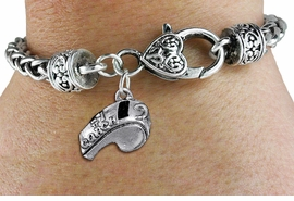 "<bR>      WHOLESALE SPORTS CHARM BRACELET <BR>                    EXCLUSIVELY OURS!! <BR>               AN ALLAN ROBIN DESIGN!! <BR>         CADMIUM, LEAD & NICKEL FREE!! <BR>         W1432SB - LARGE, SILVER TONE  <BR> ""#1 COACH"" WHISTLE CHARM & HEART CLASP <BR>     BRACELET FROM $3.94 TO $8.75 �2013"
