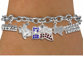 "<br>WHOLESALE STATE OF TEXAS JEWELRY<bR>                 EXCLUSIVELY OURS!! <Br>               LEAD & NICKEL FREE!! <BR>   W20254B - ""GREAT STATE OF TEXAS"" <Br>    THEMED TOGGLE CLASP MULTI CHARM <BR> BRACELET WITH CRYSTAL STATE FLAG, AND <BR> ""DON'T MESS WITH"", ""NO PLACE LIKE"" <BR>    LONGHORN STATE AND ""TEXAS GIRL"" <BR>       CHARMS FROM $10.13 TO $22.50"