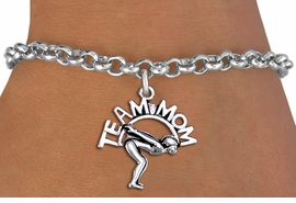 "<br>  WHOLESALE SWIMMING BRACELET FOR MOM <bR>                    EXCLUSIVELY OURS!!<BR>               AN ALLAN ROBIN DESIGN!!<BR>      CLICK HERE TO SEE 1000+ EXCITING<BR>            CHANGES THAT YOU CAN MAKE!<BR>         CADMIUM, LEAD & NICKEL FREE!!<BR>       W1482SB - DETAILED SILVER TONE <Br> ""TEAM MOM"" SWIMMING CHARM & BRACELET <BR>             FROM $4.15 TO $8.00 �2013"