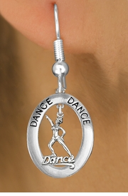 "<BR>      WHOLESALE TAP DANCE EARRING<bR>                    EXCLUSIVELY OURS!! <BR>               AN ALLAN ROBIN DESIGN!!<BR>                  LEAD & NICKEL FREE!! <BR> W20040E -  SILVER TONE ""DANCE"" OVAL <BR>    WITH SILVER TONE DANCER IN HAT <BR>       CHARM ON FISHHOOK EARRINGS <BR>          FROM $8.10 TO $18.00 �2013"