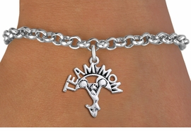 "<br>  WHOLESALE TEAM MOM CHEER BRACELET <bR>                     EXCLUSIVELY OURS!!<BR>                AN ALLAN ROBIN DESIGN!!<BR>       CLICK HERE TO SEE 1000+ EXCITING<BR>             CHANGES THAT YOU CAN MAKE!<BR>          CADMIUM, LEAD & NICKEL FREE!!<BR>        W1484SB - DETAILED SILVER TONE <Br> ""TEAM MOM"" CHEERLEADER CHARM & BRACELET <BR>              FROM $4.15 TO $8.00 �2013"