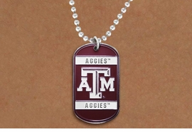 "<BR>WHOLESALE TEXAS A&M JEWELRY<Br>       LEAD & NICKEL FREE!!<Br>OFFICIALLY LICENSED COLLEGE ITEM!! <Br>W20322N - TEXAS A&M UNIVERSITY <Br> ""AGGIES"" DOG TAG NECKLACE<br>        FROM $5.63 TO $12.50"