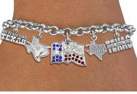 "<br>      WHOLESALE TEXAS CHARM JEWELRY<bR>                 EXCLUSIVELY OURS!! <Br>               LEAD & NICKEL FREE!! <BR>   W20253B - ""GREAT STATE OF TEXAS"" <Br>   THEMED LOBSTER CLASP MULTI CHARM <BR> BRACELET WITH CRYSTAL STATE FLAG, AND <BR> ""DON'T MESS WITH"", ""NO PLACE LIKE"" <BR>    LONGHORN STATE AND ""TEXAS GIRL"" <BR>       CHARMS FROM $10.13 TO $22.50"