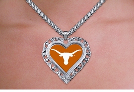 "<br>          WHOLESALE  TEXAS  JEWELRY<Br>    OFFICIALLY LICENSED COLLEGE!! <Br>             LEAD & NICKEL FREE!! <Br>    W20314N - UNIVERSITY OF TEXAS <Br>    ""LONGHORNS"" SILVER TONE HEART <Br>     NECKLACE FROM $5.63 TO $12.50"