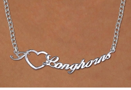 "<br>           WHOLESALE  TEXAS UNIVERSITY JEWELRY<bR>                   LEAD & NICKEL FREE!! <BR>    OFFICIAL COLLEGIATE LICENSED ITEM!! <BR>        W20305N - BEAUTIFUL SILVER TONE <BR> ""I LOVE LONGHORNS"" PENDANT WITH SILVER <BR> TONE LOBSTER CLASP CHAIN NECKLACE <BR>              FROM $7.31 TO $16.25 �2013"