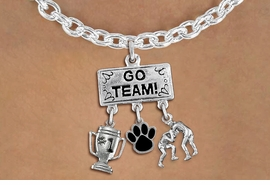 "<br>      WHOLESALE TOGGLE WRESTLING NECKLACE<Br>                 EXCLUSIVELY OURS!! <Br>            AN ALLAN ROBIN DESIGN!! <Br>               LEAD & NICKEL FREE!! <BR>        THIS IS A PERSONALIZED ITEM <Br>   W20154N - SILVER TONE ""GO TEAM!"" <BR> MENS WRESTLING THEMED PENDANT WITH <BR> #1 TROPHY, COLOR PAW, AND WRESTLERS <BR>   CHARMS ON TOGGLE CHAIN NECKLACE <BR>           FROM $7.85 TO $17.50 �2013"