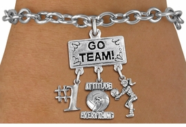 "<BR>      WHOLESALE VOLLEYBALL BRACELET<Br>                   EXCLUSIVELY OURS!! <Br>              AN ALLAN ROBIN DESIGN!! <Br>                 LEAD & NICKEL FREE!! <BR>     W20217B - SILVER TONE ""GO TEAM!"" <BR>  LADY VOLLEYBALL THEMED PENDANT WITH <BR> BUMP, ""ATTITUDE IS EVERYTHING"" AND ""#1"" <BR>        ON TOGGLE CLASP LINK BRACELET <BR>            FROM $7.85 TO $17.50 �2013"