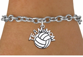"<br> WHOLESALE VOLLEYBALL CHARM BRACELET <bR>                     EXCLUSIVELY OURS!!<BR>                AN ALLAN ROBIN DESIGN!!<BR>       CLICK HERE TO SEE 1000+ EXCITING<BR>             CHANGES THAT YOU CAN MAKE!<BR>          CADMIUM, LEAD & NICKEL FREE!!<BR>        W1486SB - DETAILED SILVER TONE <Br> ""TEAM MOM"" VOLLEYBALL CHARM & BRACELET <BR>              FROM $4.50 TO $8.35 �2013"
