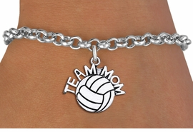 "<br> WHOLESALE VOLLEYBALL CHARM BRACELET <bR>                     EXCLUSIVELY OURS!!<BR>                AN ALLAN ROBIN DESIGN!!<BR>       CLICK HERE TO SEE 1000+ EXCITING<BR>             CHANGES THAT YOU CAN MAKE!<BR>          CADMIUM, LEAD & NICKEL FREE!!<BR>        W1486SB - DETAILED SILVER TONE <Br> ""TEAM MOM"" VOLLEYBALL CHARM & BRACELET <BR>              FROM $4.15 TO $8.00 �2013"