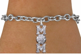 "<BR> WHOLESALE VOLLEYBALL CHARM BRACELET <bR>                EXCLUSIVELY OURS!! <Br>           AN ALLAN ROBIN DESIGN!! <BR>  CLICK HERE TO SEE 1000+ EXCITING <BR>        CHANGES THAT YOU CAN MAKE! <BR>     LEAD, NICKEL & CADMIUM FREE!! <BR> W1472SB - SILVER TONE VOLLEYBALL ""MOM"" <BR>    CLEAR CRYSTAL CHARM & BRACELET <BR>         FROM $5.40 TO $9.85 �2013"