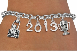 <br>    WHOLESALE VOLLEYBALL CHARM BRACELET! <Br>                      EXCLUSIVELY OURS!! <Br>                 AN ALLAN ROBIN DESIGN!! <Br>                    LEAD & NICKEL FREE!! <BR>             THIS IS A PERSONALIZED ITEM <Br>     W20469B - SILVER TONE LOBSTER CLASP <BR> BLOCK AT NET, #1 TROPHY AND CUSTOM YEAR <BR>     BRACELET FROM $9.00 TO $20.00 �2013