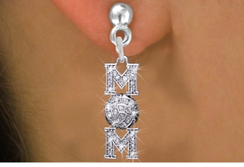 """<BR> WHOLESALE VOLLEYBALL CHARM EARRINGS <bR>                EXCLUSIVELY OURS!! <Br>           AN ALLAN ROBIN DESIGN!! <BR>     LEAD, NICKEL & CADMIUM FREE!! <BR> W1472SE - SILVER TONE VOLLEYBALL """"MOM"""" <BR>      CLEAR CRYSTAL CHARM EARRINGS <BR>        FROM $5.40 TO $10.45 �2013"""