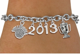 "<br>    WHOLESALE VOLLEYBALL CHARM JEWELRY! <Br>                      EXCLUSIVELY OURS!! <Br>                 AN ALLAN ROBIN DESIGN!! <Br>                    LEAD & NICKEL FREE!! <BR>             THIS IS A PERSONALIZED ITEM <Br>     W20468B - SILVER TONE TOGGLE CLASP <BR> ""VOLLEYBALL"", #1 TROPHY AND CUSTOM YEAR <BR>     BRACELET FROM $9.00 TO $20.00 �2013"