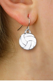 <BR>      WHOLESALE VOLLEYBALL JEWELRY<bR>            EXCLUSIVELY OURS!! <BR>       AN ALLAN ROBIN DESIGN!! <BR> CADMIUM, LEAD & NICKEL FREE!! <BR> W1424SE - SILVER TONE AND WHITE <Br>  MINI VOLLEYBALL CHARM EARRINGS <BR>     FROM $4.50 TO $8.35 �2013