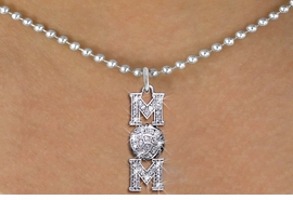 "<BR>         WHOLESALE VOLLEYBALL JEWELRY! <bR>                   EXCLUSIVELY OURS!! <Br>              AN ALLAN ROBIN DESIGN!! <BR>     CLICK HERE TO SEE 1000+ EXCITING <BR>           CHANGES THAT YOU CAN MAKE! <BR>        LEAD, NICKEL & CADMIUM FREE!! <BR>W1472SN - SILVER TONE VOLLEYBALL ""MOM"" <BR>      CLEAR CRYSTAL CHARM AND NECKLACE <BR>            FROM $5.40 TO $9.85 �2013"