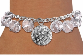 <BR>        WHOLESALE VOLLEYBALL JEWELRY!! <bR>                    EXCLUSIVELY OURS!! <Br>               AN ALLAN ROBIN DESIGN!! <BR>         LEAD, NICKEL & CADMIUM FREE!! <BR>      W20340B - SILVER TONE VOLLEYBALL <BR>  CRYSTAL CHARM & CLEAR CRYSTAL TOGGLE <BR>   BRACELET FROM $9.56 TO $21.25 �2013