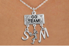 "<BR>      WHOLESALE VOLLEYBALL JEWELRY<Br>                EXCLUSIVELY OURS!! <Br>           AN ALLAN ROBIN DESIGN!! <Br>              LEAD & NICKEL FREE!! <BR>     THIS IS A PERSONALIZED ITEM!! <BR>  W20219N - SILVER TONE ""GO TEAM!"" <BR>  LADY'S VOLLEYBALL THEMED PENDANT <BR> WITH BUMP AND PERSONALIZED INITIAL <BR>  CHARMS ON LOBSTER CLASP NECKLACE <BR>        FROM $7.85 TO $17.50 �2013"