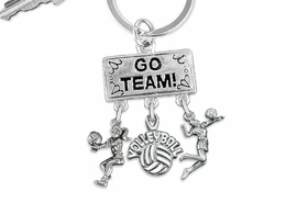 "<BR>      WHOLESALE VOLLEYBALL JEWELRY<Br>                EXCLUSIVELY OURS!! <Br>           AN ALLAN ROBIN DESIGN!! <Br>              LEAD & NICKEL FREE!! <BR> W20201KC - SILVER TONE ""GO TEAM!"" <BR>   VOLLEYBALL THEMED KEY RING WITH <BR>  BUMP, ""VOLLEBALL"" & SERVE CHARMS <BR>        FROM $6.41 TO $14.25 �2013"