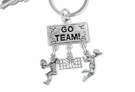 "<BR>      WHOLESALE VOLLEYBALL JEWELRY<Br>                EXCLUSIVELY OURS!! <Br>           AN ALLAN ROBIN DESIGN!! <Br>              LEAD & NICKEL FREE!! <BR> W20204KC - SILVER TONE ""GO TEAM!"" <BR>   VOLLEYBALL THEMED KEY RING WITH <BR> BUMP, BALL & NET, AND SERVE CHARMS <BR>        FROM $6.41 TO $14.25 �2013"