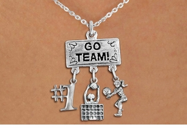"<BR>      WHOLESALE VOLLEYBALL JEWELRY<Br>               EXCLUSIVELY OURS!! <Br>          AN ALLAN ROBIN DESIGN!! <Br>             LEAD & NICKEL FREE!! <BR> W20206N - SILVER TONE ""GO TEAM!"" <BR> LADY'S VOLLEYBALL THEMED PENDANT <BR> WITH ""#1"", BLOCKED NET, AND BUMP <BR> CHARMS ON LOBSTER CLASP NECKLACE <BR>       FROM $7.85 TO $17.50 �2013"