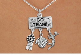 "<BR>      WHOLESALE VOLLEYBALL JEWELRY<Br>               EXCLUSIVELY OURS!! <Br>          AN ALLAN ROBIN DESIGN!! <Br>             LEAD & NICKEL FREE!! <BR> W20207N - SILVER TONE ""GO TEAM!"" <BR> LADY'S VOLLEYBALL THEMED PENDANT <BR> WITH 1st MEDAL, ""VOLLEYBALL"" AND SERVE <BR> CHARMS ON LOBSTER CLASP NECKLACE <BR>       FROM $7.85 TO $17.50 �2013"