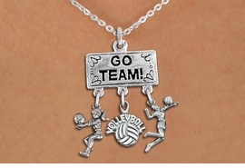 "<BR>      WHOLESALE VOLLEYBALL JEWELRY<Br>               EXCLUSIVELY OURS!! <Br>          AN ALLAN ROBIN DESIGN!! <Br>             LEAD & NICKEL FREE!! <BR> W20208N - SILVER TONE ""GO TEAM!"" <BR> LADY'S VOLLEYBALL THEMED PENDANT <BR> WITH BUMP, ""VOLLEYBALL"" AND SERVE <BR> CHARMS ON LOBSTER CLASP NECKLACE <BR>       FROM $7.85 TO $17.50 �2013"