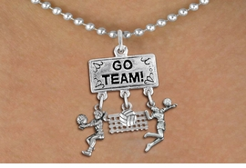 "<BR>      WHOLESALE VOLLEYBALL JEWELRY<Br>               EXCLUSIVELY OURS!! <Br>          AN ALLAN ROBIN DESIGN!! <Br>             LEAD & NICKEL FREE!! <BR> W20211N - SILVER TONE ""GO TEAM!"" <BR> LADY'S VOLLEYBALL THEMED PENDANT <BR>   WITH BUMP, BALL & NET, AND SERVE <BR>    CHARMS ON BALL CHAIN NECKLACE <BR>       FROM $7.85 TO $17.50 �2013"