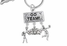 "<BR>      WHOLESALE VOLLEYBALL JEWELRY<Br>                     EXCLUSIVELY OURS!! <Br>                AN ALLAN ROBIN DESIGN!! <Br>                   LEAD & NICKEL FREE!! <BR>      W20225KC - SILVER TONE ""GO TEAM!"" <BR>        VOLLEYBALL THEMED KEY RING WITH <BR> HIGH SERVE, ""VOLLEYBALL MOM"" AND SERVE <BR>      CHARMS FROM $6.41 TO $14.25 �2013"