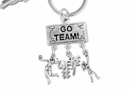 "<BR>      WHOLESALE VOLLEYBALL JEWELRY<Br>                 EXCLUSIVELY OURS!! <Br>            AN ALLAN ROBIN DESIGN!! <Br>               LEAD & NICKEL FREE!! <BR>  W20228KC - SILVER TONE ""GO TEAM!"" <BR>    VOLLEYBALL THEMED KEY RING WITH <BR> HIGH SERVE, ""WE'RE #1"" AND SERVE CHARMS <BR>         FROM $6.41 TO $14.25 �2013"