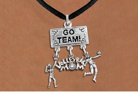 "<BR>      WHOLESALE VOLLEYBALL JEWELRY<Br>                 EXCLUSIVELY OURS!! <Br>            AN ALLAN ROBIN DESIGN!! <Br>               LEAD & NICKEL FREE!! <BR>   W20229N - SILVER TONE ""GO TEAM!"" <BR>   LADY'S VOLLEYBALL THEMED PENDANT <BR> WITH HIGH SERVE, ""VOLLEYBALL MOM"", AND <BR> SERVE CHARMS ON BLACK SUEDE NECKLACE <BR>         FROM $7.85 TO $17.50 �2013"