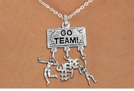 "<BR>      WHOLESALE VOLLEYBALL JEWELRY<Br>                 EXCLUSIVELY OURS!! <Br>            AN ALLAN ROBIN DESIGN!! <Br>               LEAD & NICKEL FREE!! <BR>   W20232N - SILVER TONE ""GO TEAM!"" <BR>   LADY'S VOLLEYBALL THEMED PENDANT <BR> WITH HIGH SERVE, ""WE'RE #1"", AND SERVE <BR>      CHARMS ON CHAIN LINK NECKLACE <BR>         FROM $7.85 TO $17.50 �2013"