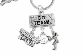 "<BR>      WHOLESALE VOLLEYBALL JEWELRY<Br>                     EXCLUSIVELY OURS!! <Br>                AN ALLAN ROBIN DESIGN!! <Br>                   LEAD & NICKEL FREE!! <BR>      W20250KC - SILVER TONE ""GO TEAM!"" <BR>        VOLLEYBALL THEMED KEY RING WITH <BR> BUMP, BALL AND ""VOLEYBALL ROCKS!"" CHARMS <BR>             FROM $6.41 TO $14.25 �2013"