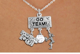"<BR>      WHOLESALE VOLLEYBALL JEWELRY<Br>                 EXCLUSIVELY OURS!! <Br>            AN ALLAN ROBIN DESIGN!! <Br>               LEAD & NICKEL FREE!! <BR>   W20251N - SILVER TONE ""GO TEAM!"" <BR>   LADY'S VOLLEYBALL THEMED PENDANT <BR> BUMP, BALL, AND ""VOLLEYBALL ROCKS!""<BR>   CHARMS ON LOBSTER CLASP NECKLACE <BR>         FROM $7.85 TO $17.50 �2013"