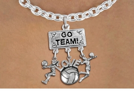 "<BR>      WHOLESALE VOLLEYBALL NECKLACE<Br>               EXCLUSIVELY OURS!! <Br>          AN ALLAN ROBIN DESIGN!! <Br>             LEAD & NICKEL FREE!! <BR> W20210N - SILVER TONE ""GO TEAM!"" <BR> LADY'S VOLLEYBALL THEMED PENDANT <BR>   WITH BUMP, ""LOVE"" BALL, AND SERVE <BR>  CHARMS ON TOGGLE CHAIN NECKLACE <BR>       FROM $9.00 TO $20.00 �2013"