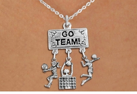 "<BR>      WHOLESALE VOLLEYBALL NECKLACE<Br>                EXCLUSIVELY OURS!! <Br>           AN ALLAN ROBIN DESIGN!! <Br>              LEAD & NICKEL FREE!! <BR>  W20218N - SILVER TONE ""GO TEAM!"" <BR>  LADY'S VOLLEYBALL THEMED PENDANT <BR> BUMP, HIGH BLOCK AT NET, AND SERVE <BR>  CHARMS ON LOBSTER CLASP NECKLACE <BR>        FROM $7.85 TO $17.50 �2013"