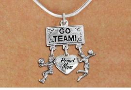 "<BR>      WHOLESALE VOLLEYBALL NECKLACE<Br>                EXCLUSIVELY OURS!! <Br>           AN ALLAN ROBIN DESIGN!! <Br>              LEAD & NICKEL FREE!! <BR>  W20220N - SILVER TONE ""GO TEAM!"" <BR>  LADY'S VOLLEYBALL THEMED PENDANT <BR> WITH BUMP, ""PROUD MOM"", AND SERVE <BR>     CHARMS ON SNAKE CHAIN NECKLACE <BR>        FROM $7.85 TO $17.50 �2013"