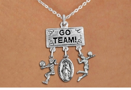 "<BR>      WHOLESALE VOLLEYBALL NECKLACE<Br>                 EXCLUSIVELY OURS!! <Br>            AN ALLAN ROBIN DESIGN!! <Br>               LEAD & NICKEL FREE!! <BR>   W20230N - SILVER TONE ""GO TEAM!"" <BR>   LADY'S VOLLEYBALL THEMED PENDANT <BR>  WITH BUMP, MOTHER MARY, AND SERVE <BR>      CHARMS ON CHAIN LINK NECKLACE <BR>         FROM $7.85 TO $17.50 �2013"