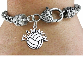 "<bR>    WHOLESALE VOLLEYBALL SPORT BRACELET <BR>                     EXCLUSIVELY OURS!! <BR>                AN ALLAN ROBIN DESIGN!! <BR>          CADMIUM, LEAD & NICKEL FREE!! <BR>        W1486SB - DETAILED SILVER TONE  <BR> ""TEAM MOM"" VOLLEYBALL CHARM & HEART CLASP <BR>      BRACELET FROM $3.94 TO $8.75 �2013"