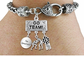 "<br>        WHOLESALE WRESTLING BRACELET<Br>                  EXCLUSIVELY OURS!! <Br>             AN ALLAN ROBIN DESIGN!! <Br>                LEAD & NICKEL FREE!! <BR>    W20155B - SILVER TONE ""GO TEAM!"" <BR>  MENS WRESTLING THEMED PENDANT WITH <BR> ""THE GREATEST"", WRESTLERS, & 1st MEDAL <BR> CHARMS ON HEART LOBSTER CLASP BRACELET <BR>           FROM $9.00 TO $20.00 �2013"