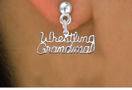 "<br>      WHOLESALE WRESTLING JEWELRY<bR>                EXCLUSIVELY OURS!! <BR>           AN ALLAN ROBIN DESIGN!! <BR>     CADMIUM, LEAD & NICKEL FREE!! <BR> W1428SE - SILVER TONE SCRIPT WORDS <Br> ""WRESTLING GRANDMA"" CHARM EARRINGS <BR>         FROM $4.50 TO $8.35 �2013"