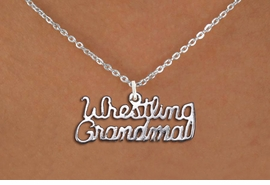"<br>      WHOLESALE WRESTLING  JEWELRY<bR>                  EXCLUSIVELY OURS!! <BR>             AN ALLAN ROBIN DESIGN!! <BR>    CLICK HERE TO SEE 1000+ EXCITING <BR>          CHANGES THAT YOU CAN MAKE! <BR>       CADMIUM, LEAD & NICKEL FREE!! <BR>   W1428SN - SILVER TONE SCRIPT WORD <Br>  ""WRESTLING GRANDMA"" CHARM NECKLACE <BR>           FROM $4.50 TO $8.35 �2013"