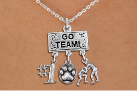 "<br>      WHOLESALE WRESTLING JEWELRY<Br>                 EXCLUSIVELY OURS!! <Br>            AN ALLAN ROBIN DESIGN!! <Br>               LEAD & NICKEL FREE!! <BR>   W20152N - SILVER TONE ""GO TEAM!"" <BR> MENS WRESTLING THEMED PENDANT WITH <BR>  #1, 3D SILVER PAW PRINT, WRESTLERS <BR>      CHARMS ON CHAIN LINK NECKLACE <BR>           FROM $7.85 TO $17.50 �2013"