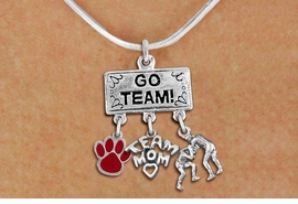"<br>      WHOLESALE  WRESTLING NECKLACE<Br>                 EXCLUSIVELY OURS!! <Br>            AN ALLAN ROBIN DESIGN!! <Br>               LEAD & NICKEL FREE!! <BR>        THIS IS A PERSONALIZED ITEM <Br>   W20153N - SILVER TONE ""GO TEAM!"" <BR> MENS WRESTLING THEMED PENDANT WITH <BR> COLOR PAW, TEAM MOM, AND WRESTLERS <BR>     CHARMS ON SNAKE CHAIN NECKLACE <BR>           FROM $7.85 TO $17.50 �2013"