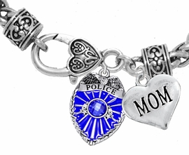 "<Br>              WHOLESALE POLICE CRYSTAL JEWELRY  <BR>                         AN ALLAN ROBIN DESIGN!! <Br>                   CADMIUM, LEAD & NICKEL FREE!!  <Br>         W1329-1837B1  ""I LOVE YOU MOM"" HEART  <BR>      CHARMS ON HEART LOBSTER CLASP BRACELET <BR>                     FROM $7.50 TO $9.50 �2016"
