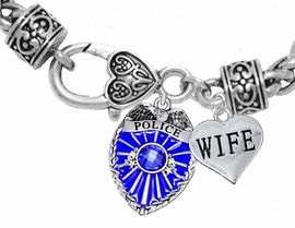 "<Br>                       WHOLESALE POLICE JEWELRY  <BR>                         AN ALLAN ROBIN DESIGN!! <Br>                   CADMIUM, LEAD & NICKEL FREE!!  <Br>          W1329-1876B1  ""I LOVE YOU WIFE"" HEART  <BR>      CHARMS ON HEART LOBSTER CLASP BRACELET <BR>                         FROM $7.50 TO $9.50 �2016"