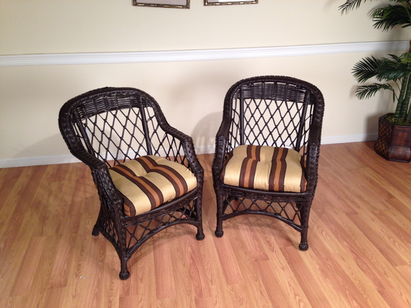 2 Vinyl Wicker chairs
